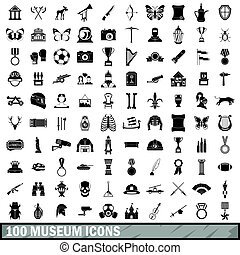 100 museum icons set, simple style