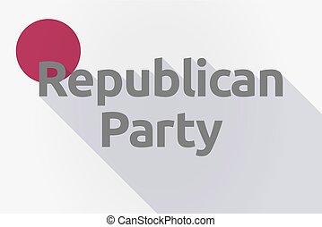 Long shadow Japan flag with the text Republican Party -...