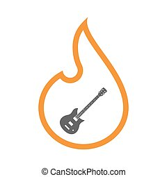 Line art flame with  an electric guitar