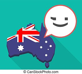 Long shadow Australia map with  a wink text face emoticon