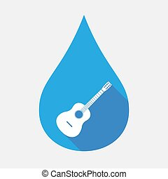 Isolated water drop with a six string acoustic guitar -...