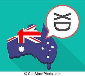 Long shadow Australia map with   a laughing text face