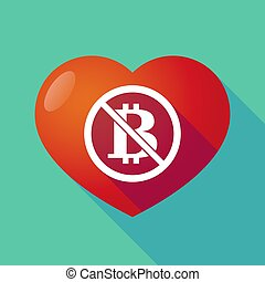 Long shadow heart with  a bitcoin sign  in a not allowed signal