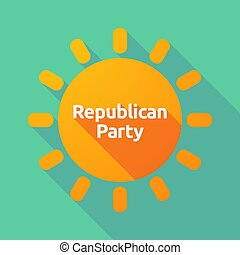 Long shadow Sun with the text Republican Party -...