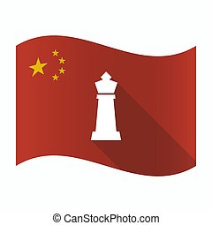 Waving China flag with a  king   chess figure