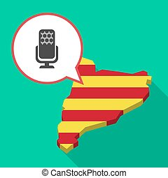 Long shadow Catalonia map with  a microphone sign