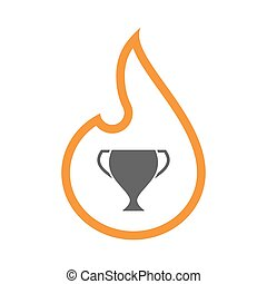 Line art flame with  an award cup