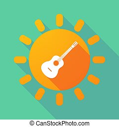 Long shadow Sun with a six string acoustic guitar -...