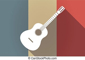 Long shadow France flag with a six string acoustic guitar -...