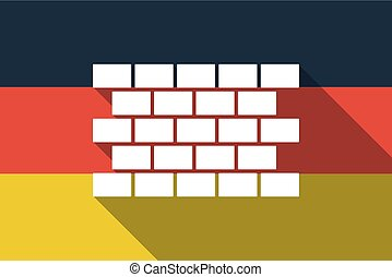 Long shadow Germany flag with  a brick wall