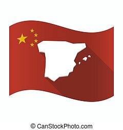 Waving China flag with  the map of  Spain