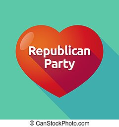 Long shadow heart with the text Republican Party -...