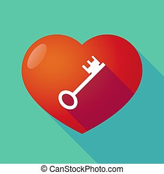 Long shadow heart with a vintage key - Illustration of a...