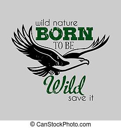 Creative Design Poster with eagle in centre and words Born...