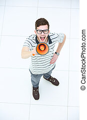 Top view of happy young man expressing positivity and...