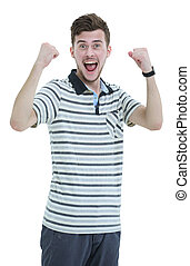 Cheering man with his arms raised up on white background.