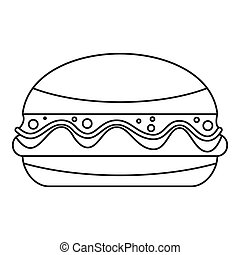 Burger icon outline - Burger icon in outline style isolated...