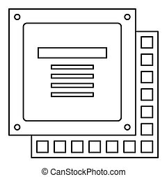 Computer CPU processor chip icon outline - Computer CPU...