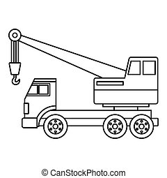 Truck crane icon outline - Truck crane icon in outline style...