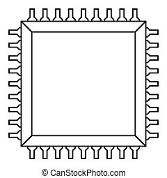 Computer microchip icon outline