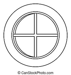 White round window icon outline - White round window icon in...