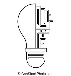Circuit board inside light bulb icon outline - Circuit board...