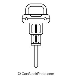 Pneumatic hammer icon outline - Pneumatic hammer icon in...