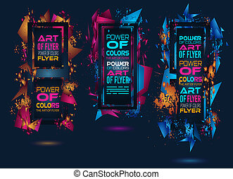 Futuristic Frame Art Design with Abstract shapes and drops...