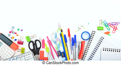 Office - school supplies on white background