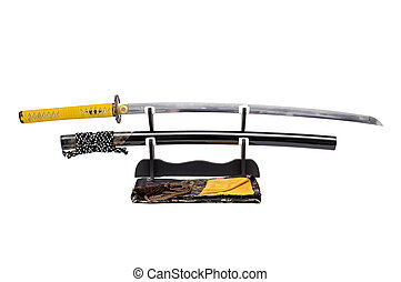 Japanese sword with yellow leather cord wrapped on handle and scabbard with ray skin on stand  white background, black silk bag at front.