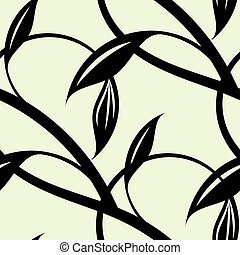 Continuous pattern of intertwining black vines. Vector...
