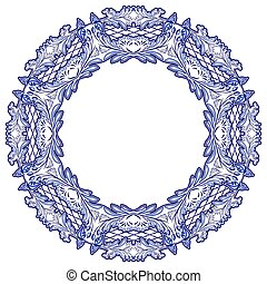 Round floral frame with blue pattern on the grounds of...