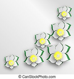 Background of cut paper flowers.
