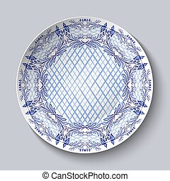 Dish painted with blue national patterns in the style of...