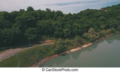 Aerial view over lake georgia,shot from a copter,shooting at...