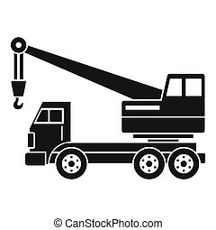 Truck crane icon simple - Truck crane icon in simple style...