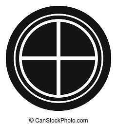 White round window icon simple - White round window icon in...