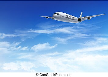 Airplane fly in the in a blue cloudy sky. Travel concept. Vector illustration