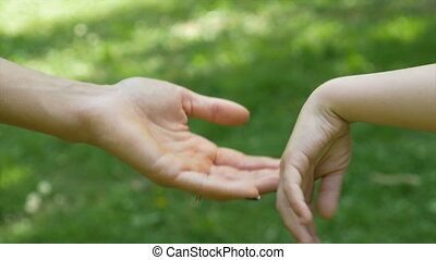 Concept of family protection and support with hands of...