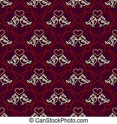 Valentines Day seamless pattern with couples birds and hearts. Trendy linear design of love symbols. Juicy rich background.