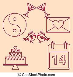 Set valentines day design outline emblems. Vector...