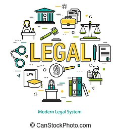 Modern Legal System - round line concept - Vector round web...