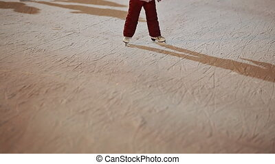 Moscow. Skating rink in the open air. People skate in the...