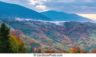 Foggy sunrise time lapse - Autumn time lapse in Carpatian...