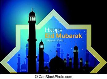 Happy eid Mubarak - Abstract vector, greeting card of Eid...