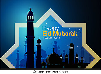 Happy eid Mubarak - Abstract vector, greeting card of Eid...
