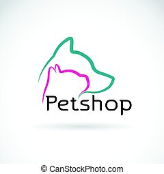 Vector of a dog and cat design on white background. Petshop