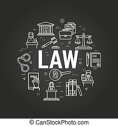 LAW letters on black - Vector round web banner of judiciary...