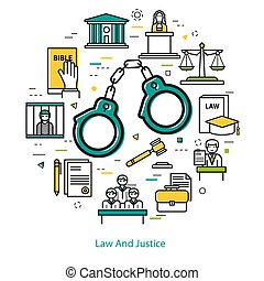 Law And Justice - round line concept - Vector round web...