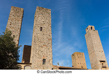 Architecture of San Gimignano, small medieval village of...
